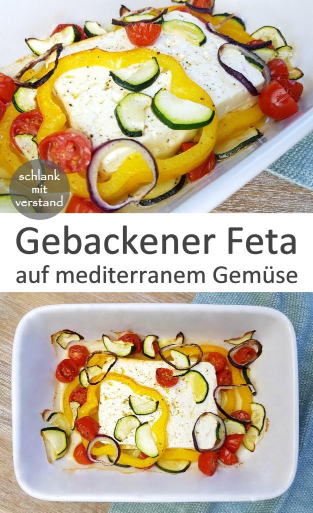 Gebackener Feta auf mediterranem Gemüse low carb