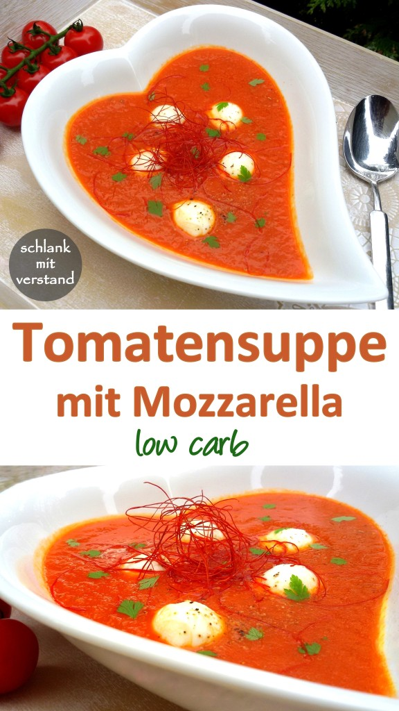 Tomatensuppe mit Mozzarella low carb