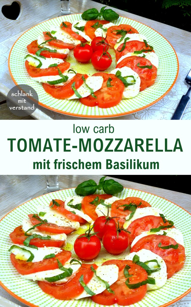 Tomate-Mozzarella mit frischem Basilikum low carb