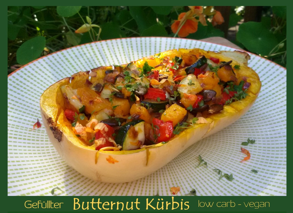 Gefüllter Butternut Kürbis low carb vegan