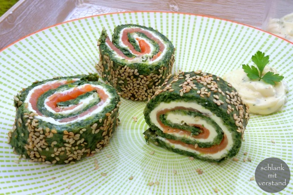 low carb Spinat-Lachs-Rolle