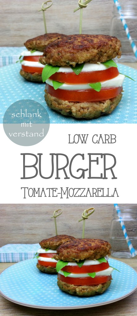 low carb Tomate Mozzarella Burger Rezept