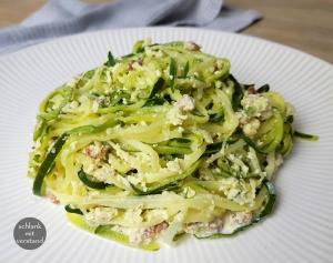 low carb Zucchini Nudeln Carbonara Rezept