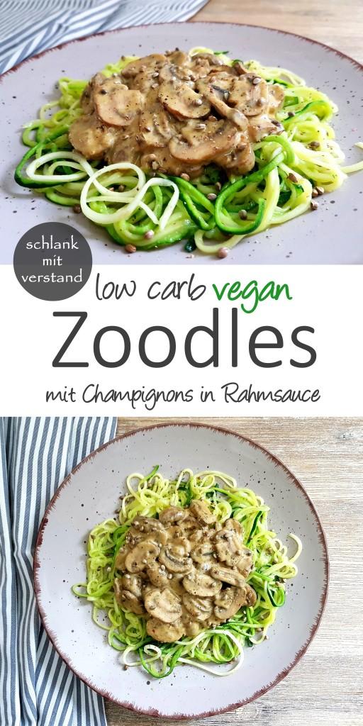 Zoodles mit Champignons in Rahmsauce low carb vegan
