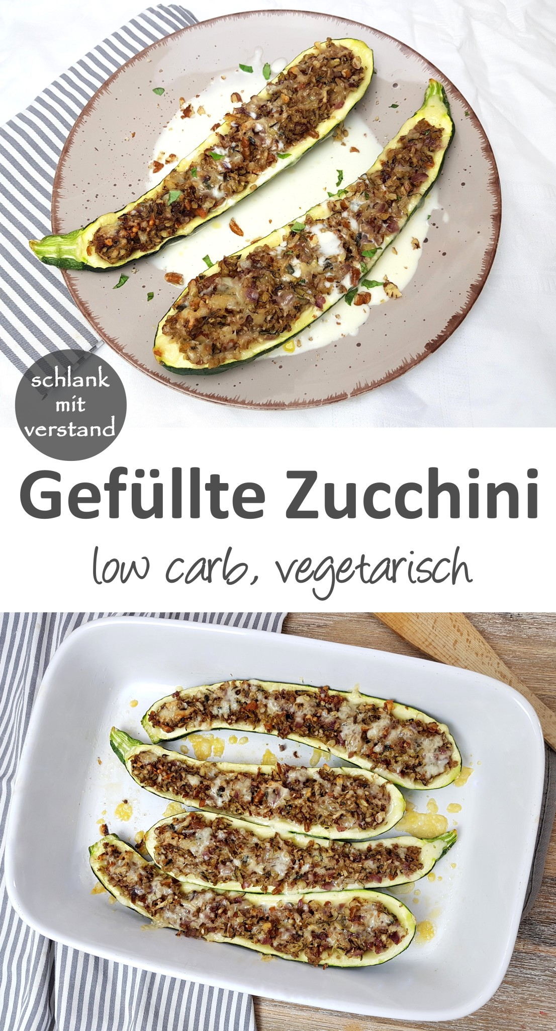 Gefüllte Zucchini vegetarisch low carb