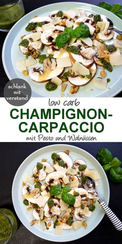 low carb Champignon-Carpaccio mit Pesto und Walnüssen