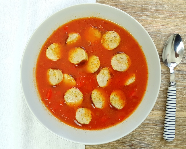 low carb Currywurstsuppe