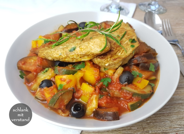 low carb Ratatouille mit Pute