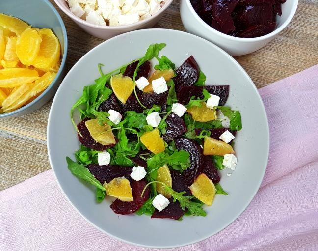 low carb Rote Beete Salat mit Orange und Feta