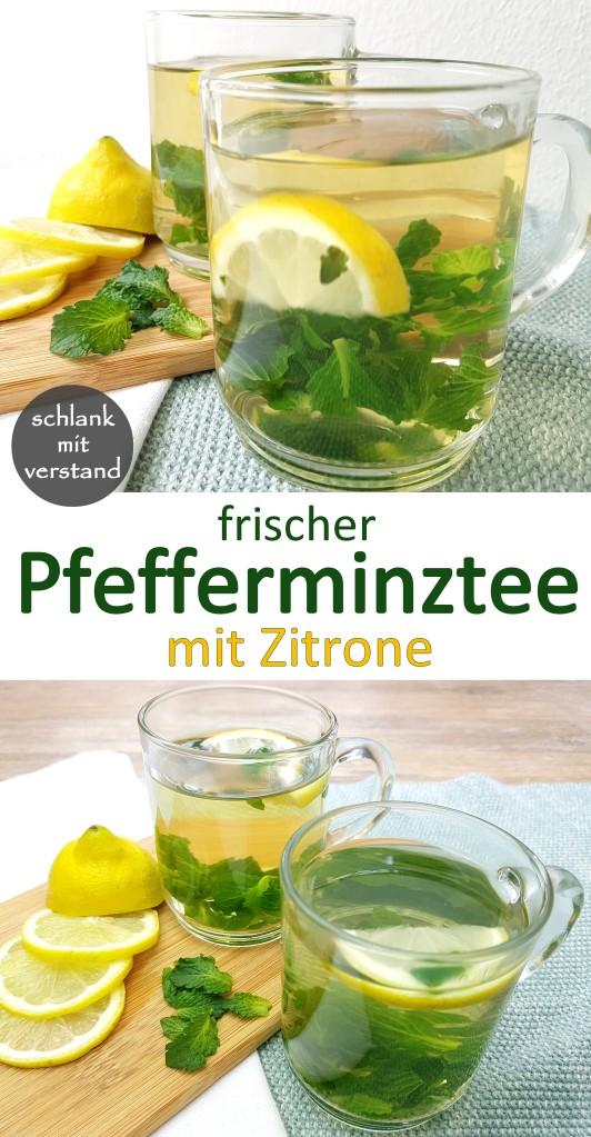 frischer Pfefferminztee mit Zitrone