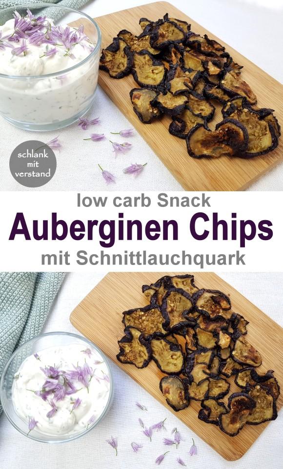 Auberginen Chips mit Schnittlauchquark low carb