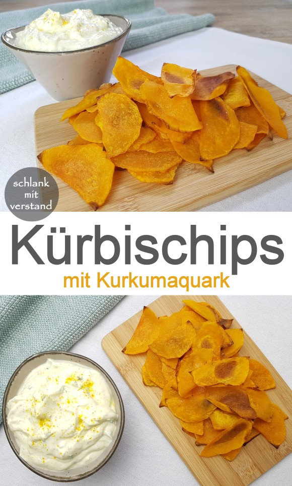 Kürbischips mit Kurkumaquark low carb